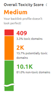 image of toxic link test results